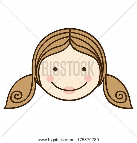front view colorful silhouette cartoon girl daugther face vector illustration
