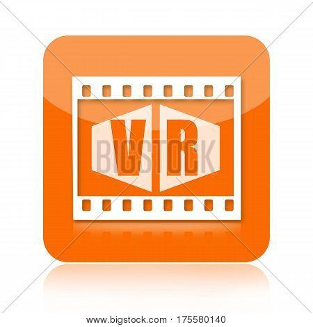 Virtual reality video or movie orange icon