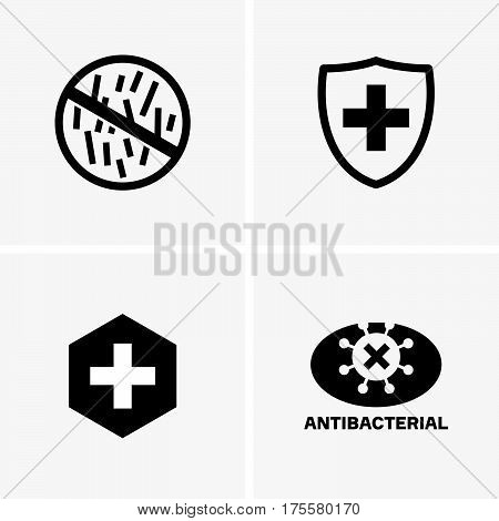 Set of antibacterial signs on grey background
