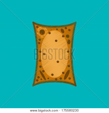 flat shading style icon on blue background plant cell