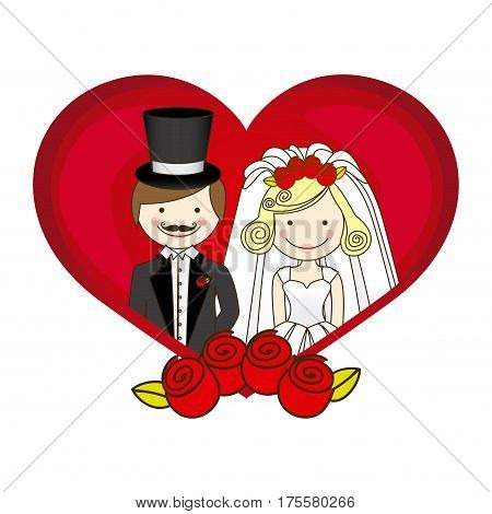 colorful silhouette heart with cartoon married couple and crown roses vector illustration