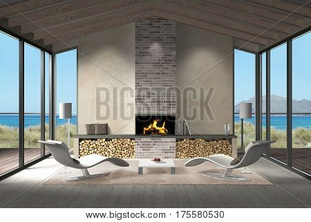 fictitious 3D rendering showing a modern seaside living room with fire place and view to the sea