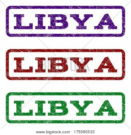 Libya watermark stamp. Text caption inside rounded rectangle with grunge design style. Vector variants are indigo blue, red, green ink colors. Rubber seal stamp with unclean texture.