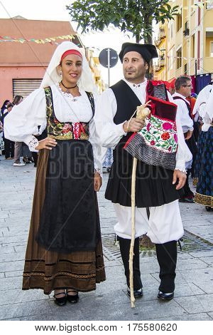 QUARTU S.E., ITALY - September 15, 2012: Parade of the Wine Festival 2012 - the parade of the folk group of San Sebastiano Curcuris - Sardinia