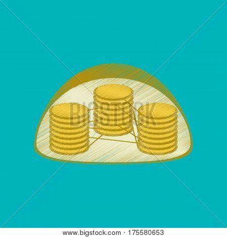 flat shading style icon on blue background chloroplast
