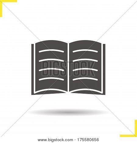 Open book icon. Drop shadow silhouette symbol. Open textbook. Reading. Negative space. Vector isolated illustration