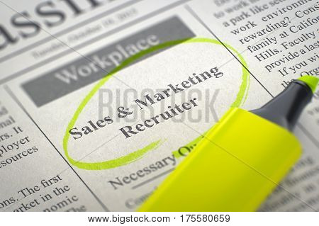 A Newspaper Column in the Classifieds with the Jobs of Sales and Marketing Recruiter, Circled with a Yellow Marker. Blurred Image. Selective focus. Job Seeking Concept. 3D Rendering.