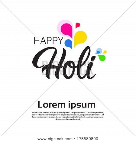 Happy Holi Religious India Holiday Traditional Celebration Greeting Card Flat Vector Illustration