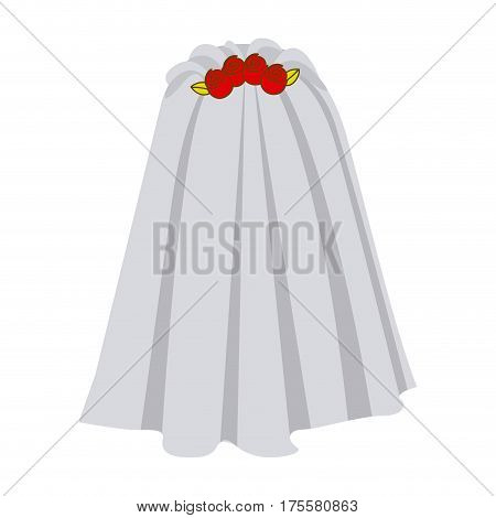 colorful silhouette costume veil bride with roses vector illustration