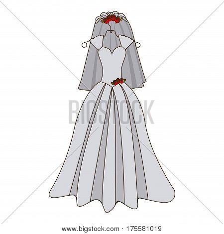 colorful silhouette costume dress and veil bride with roses vector illustration