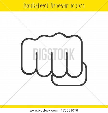 Punch linear icon. Thin line illustration. Squeezed fist contour symbol. Vector isolated outline drawing