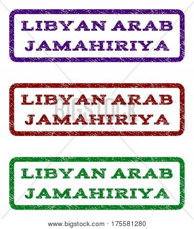 Libyan Arab Jamahiriya watermark stamp. Text caption inside rounded rectangle frame with grunge design style. Vector variants are indigo blue, red, green ink colors.