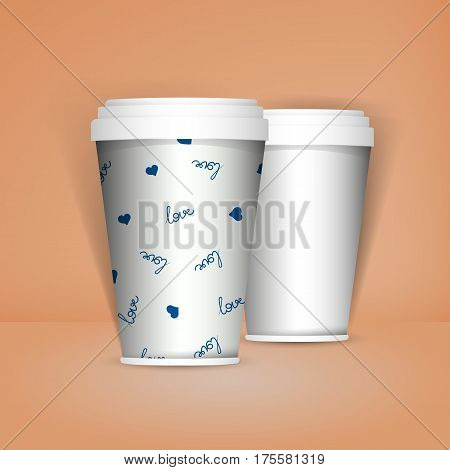 3D Realistic set of paper Coffee Cups. Paper Coffee Cup Mockup. Vector Template