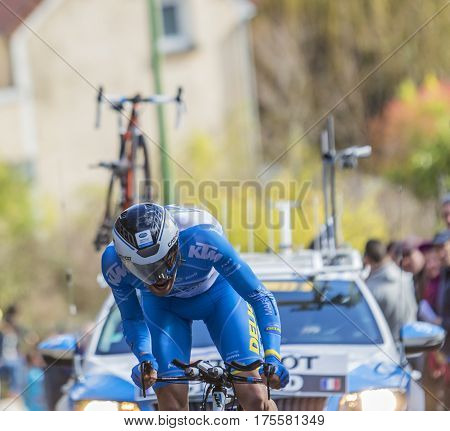 Conflans-Sainte-HonorineFrance-March 62016: The French cyclist Thierry Hupond of Delko-Marseille Provence-KTM Team riding during the prologue stage of Paris-Nice 2016.