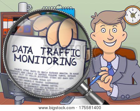 Business Man in Suit Holding a Paper with Text Data Traffic Monitoring Concept through Magnifier. Closeup View. Colored Modern Line Illustration in Doodle Style.