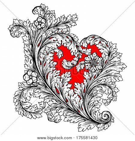 Decorative Stylized Heart In Baroque, Royal Style. Perfect For Greeting Card For Valentine Day, Invi