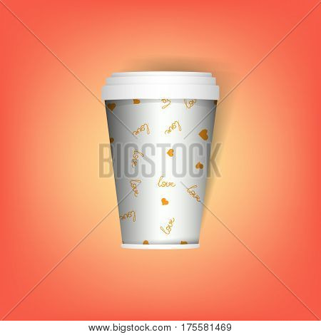 insulated disposable coffee mug. Realistic paper coffee or tea cup, mug. Mock up vector template. Take away utensil, tableware.