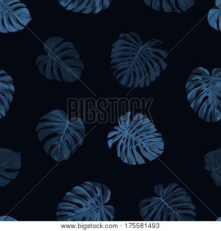 Seamless tropical botanical pattern with indigo blue monstera palm leaves. Exotic hawaiian fabric design. Vector illustration.
