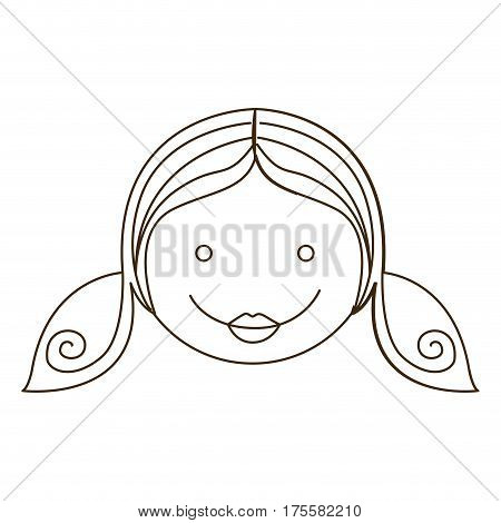 sketch silhouette cartoon girl daugther face vector illustration