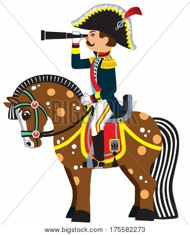 cartoon soldier sitting on a horseback and looking through the binoculars . Side view vector illustration for little kids
