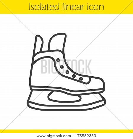 Ice skate linear icon. Thin line illustration. Hockey skate contour symbol. Vector isolated outline drawing