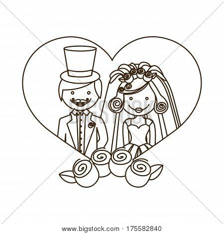 sketch silhouette heart with cartoon married couple and crown roses vector illustration