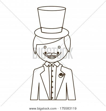 silhouette cartoon half body groom with suit and hat vector illustration