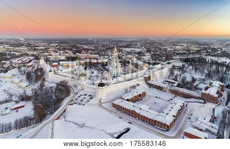 Panoramic Aerial View On Trinity St. Sergy Monastery At Winter