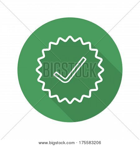 Approved stamp. Flat linear long shadow icon. Accept badge. Green sticker with tick. Vector line symbol