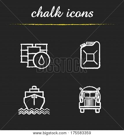 Oil transportation chalk icons set. Petrol barrels and gasoline jerrycan, cargo ship and transportation tank truck. Isolated vector chalkboard illustrations