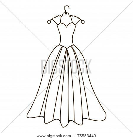 sketch silhouette costume bride dress vector illustration