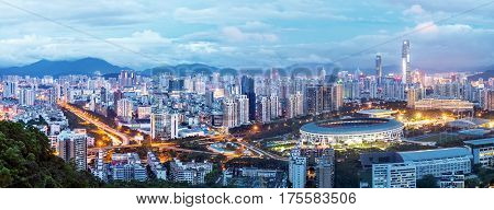 Aerial view of Shenzhen city night view