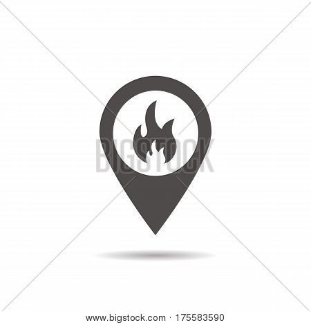 Fire location icon. Drop shadow silhouette symbol. Flame inside pinpoint. Fire nearby. Vector isolated illustration