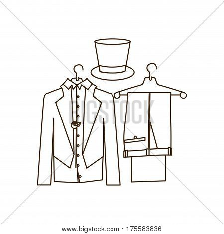 silhouette costume formal suit with hat groom vector illustration