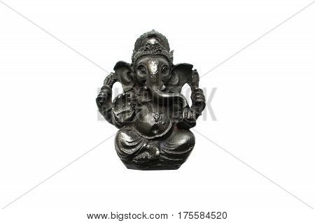 Statuette of the Indian God Gasesa elephant isolated on a white background.