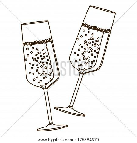 sketch silhouette couple toast champagne glasses vector illustration