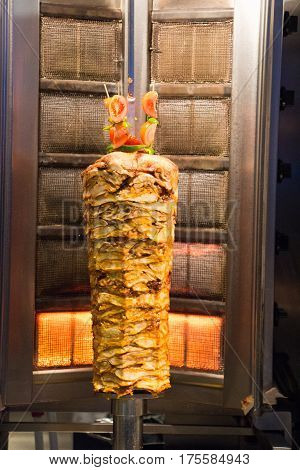 Traditional Turkish Doner Kebab on pole in a restaurant