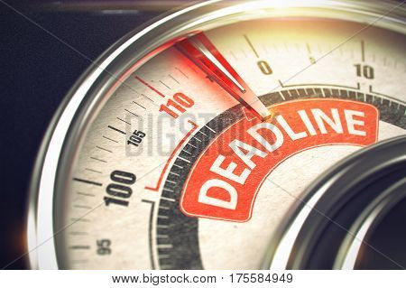 Gauge with Red Needle Pointing the Message Deadline on the Red Label. Shiny Metal Compass with Red Punchline Reach the Deadline. Illustration with Depth of Field Effect. 3D.