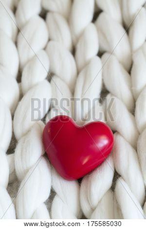 Red Heart On Woolie Blanket