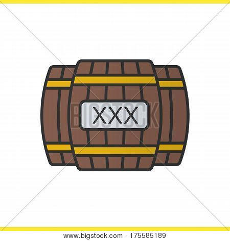 Alcohol wooden barrels color icon. Whiskey or rum barrels with xxx sign. Isolated vector illustration