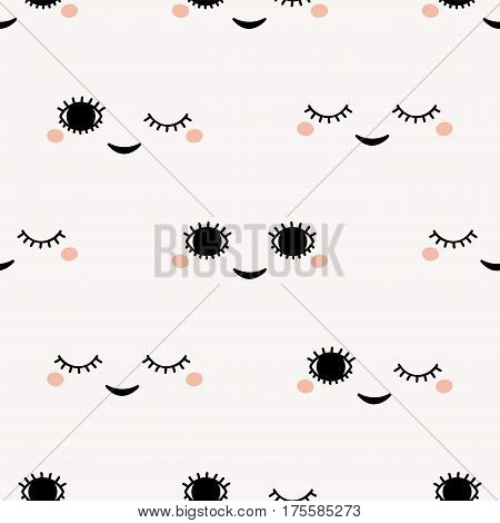 Cute faces. Vector pattern. Doodle style. Winking face