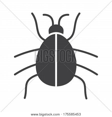 Beetle icon. Computer virus silhouette symbol. Malware and spyware bug. Negative space. Vector isolated illustration
