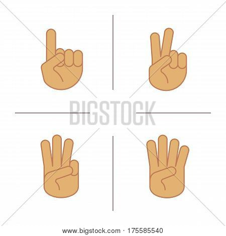 Hand gestures color icons set. One, two, three and four fingers up. Isolated vector illustrations