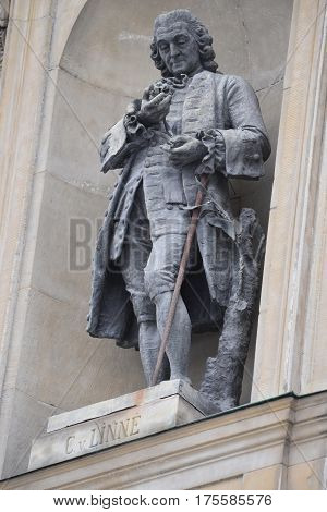 Carl Linnaeus Monument on the Royal Palace facade in Stockholm, Sweden