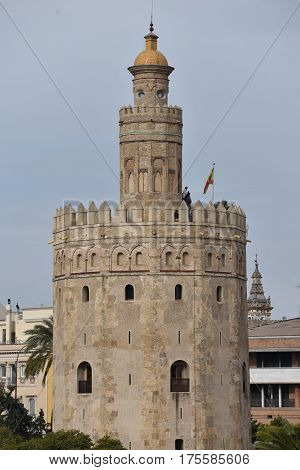 Golden Tower, Torre del Oro, Seville, Andalusia, Spain