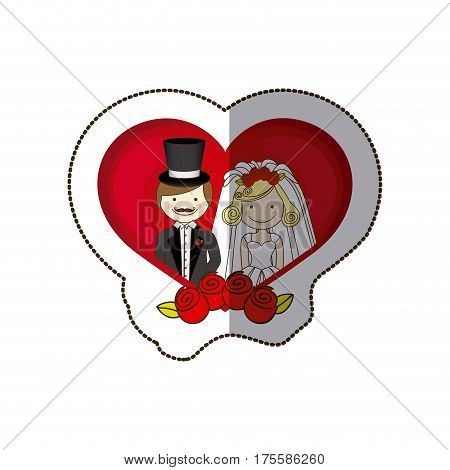 sticker colorful silhouette heart with cartoon married couple and crown roses vector illustration