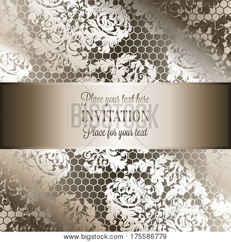 Baroque background with antique, luxury beige and metal gold vintage frame, victorian banner, damask intricate wallpaper ornaments, invitation card, baroque style booklet, lace decoration, textile.