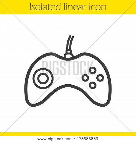 Gamepad linear icon. Thin line illustration. Joystick contour symbol. Vector isolated outline drawing