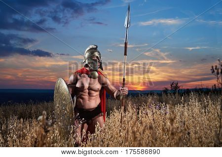 Horizontal shot of a fearless strong masculine legionary warrior with muscular toned torso standing in the field at dusk with copyspace. confidence and bravery concept.