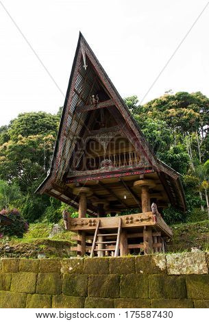 Front of a house at an old Batak village in Sumatra Samosir Island in the afternoon Indonesia.